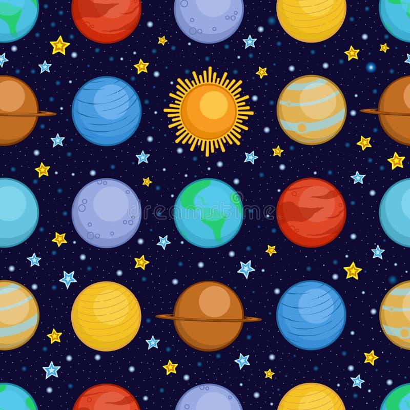 Planeten van zonnestelsel in ruimte, het naadloze patroon van de beeldverhaalstijl royalty-vrije illustratie