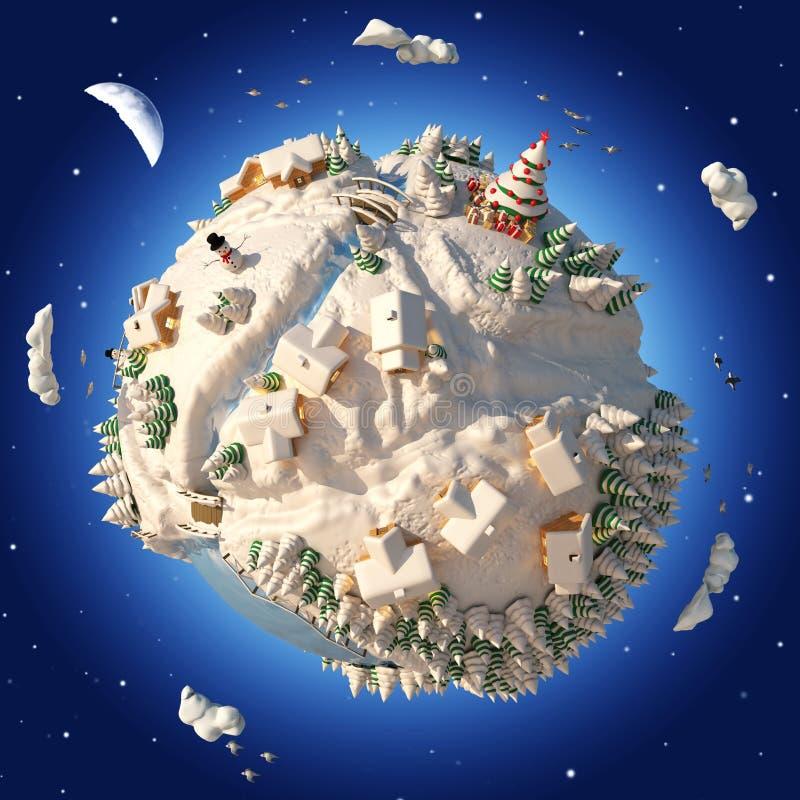 Planeten-Winter der Karikatur-3D stockfotografie