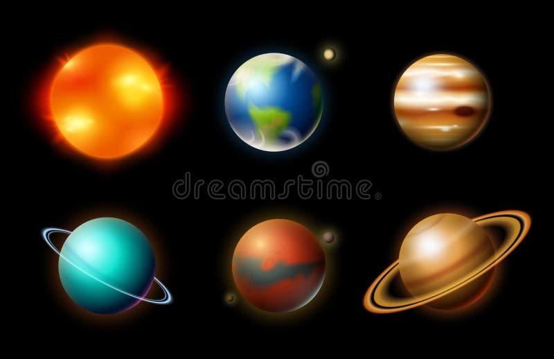 Planeten in zonnestelsel astronomische melkweg de kosmonaut onderzoekt avontuur Ruimtemars en zon, aarde en venus banner royalty-vrije illustratie