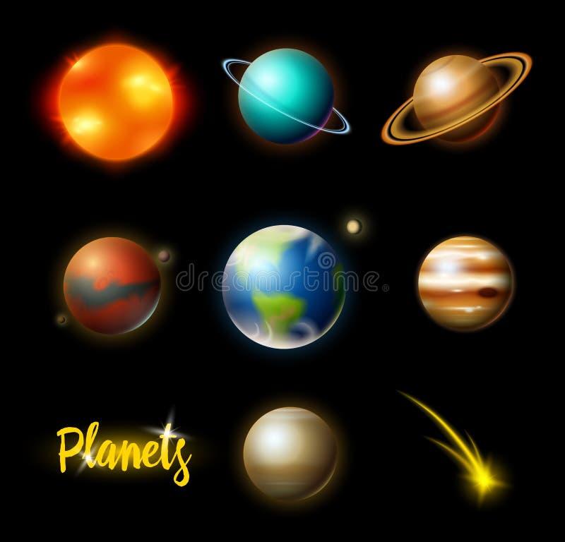 Planeten in zonnestelsel astronomische melkweg de kosmonaut onderzoekt avontuur Ruimtemars en zon, aarde en venus banner stock illustratie