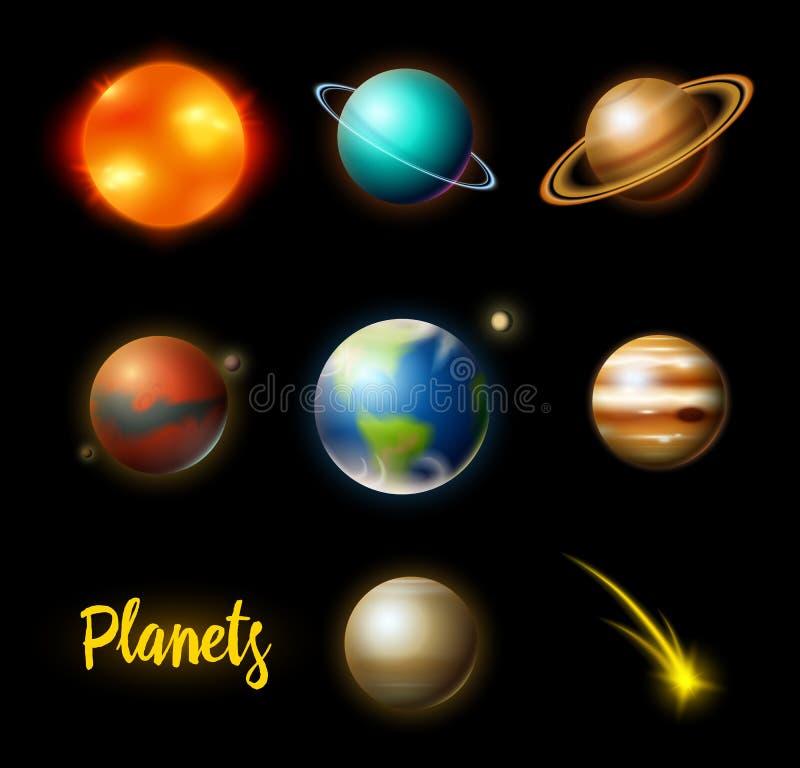 Planeten in zonnestelsel astronomische melkweg de kosmonaut onderzoekt avontuur Ruimtemars en zon, aarde en venus banner vector illustratie