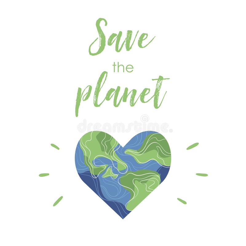 Planetenerde in Form eines Herzens mit Anlagen und Blumen lizenzfreie abbildung