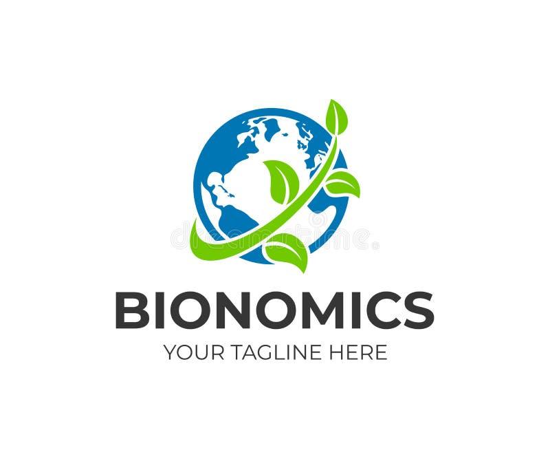 Planetenerde mit Kontinenten und Niederlassung mit Blättern, Logodesign Bionomics, Ökologie und Umweltschutz, Vektordesign stock abbildung