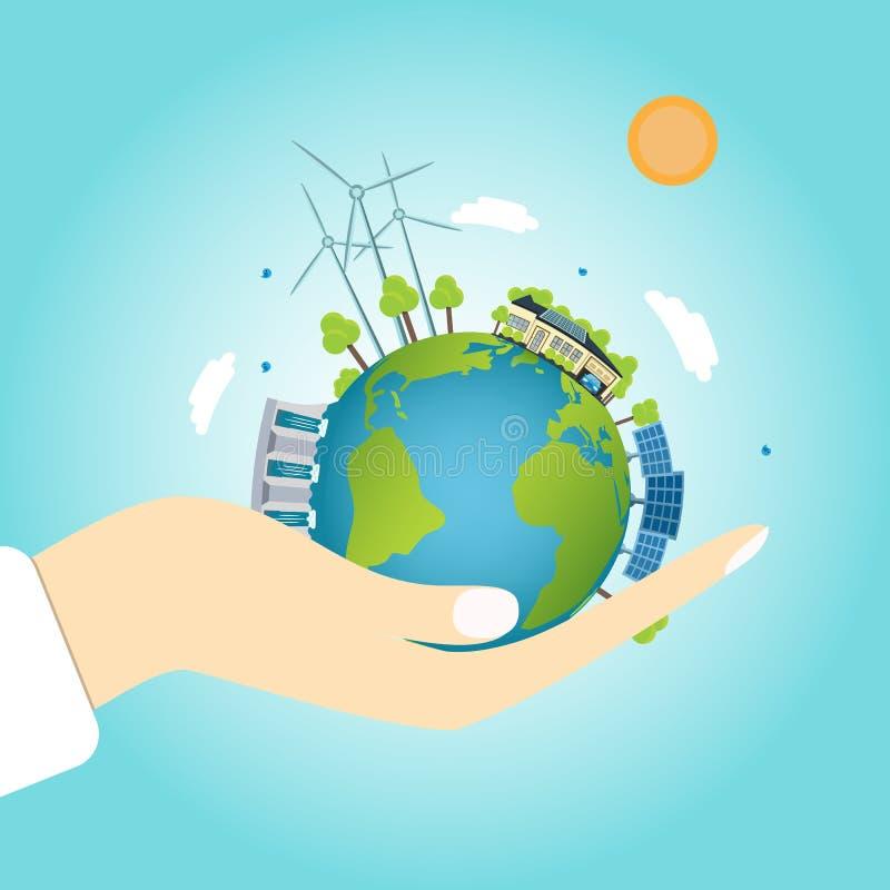 Planetenerde mit sauberen Energiequellen lizenzfreie abbildung