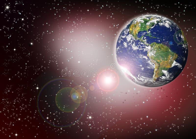 Planetenerde mit Sonnenaufgang im Platz stockfotografie