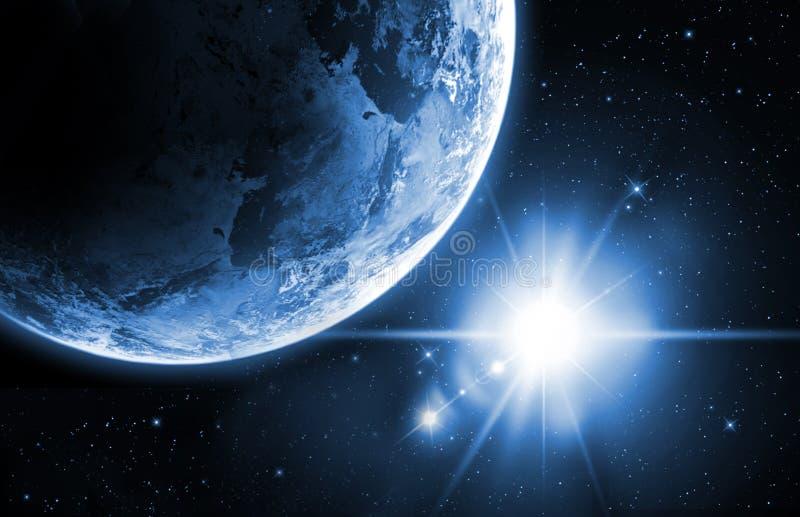 Planetenerde mit Sonnenaufgang im Raum lizenzfreie stockfotos