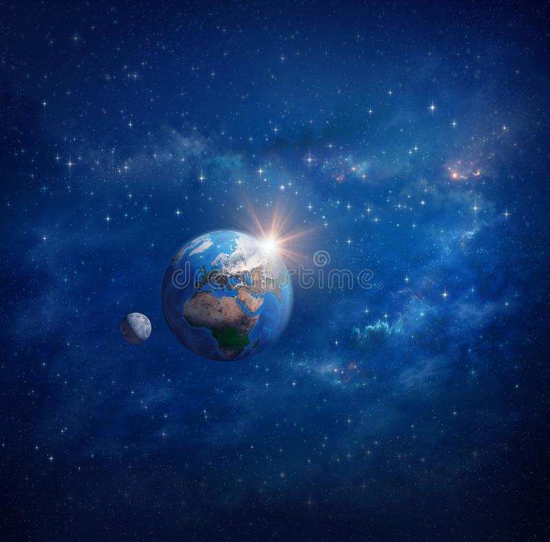 Planetenerde, -sonnenaufgang und -mond im Weltraum lizenzfreie abbildung
