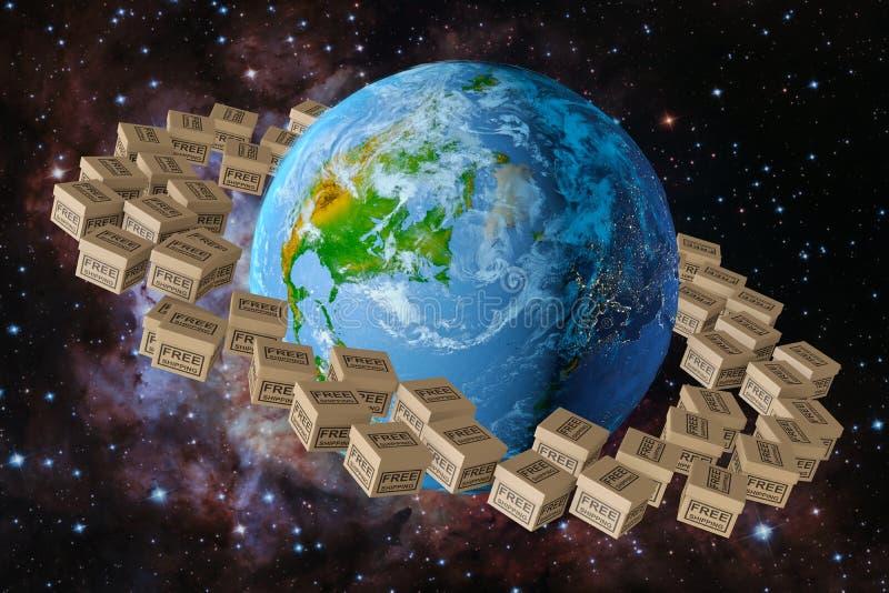 Planetenerde und Kastenkostenloser versand vektor abbildung