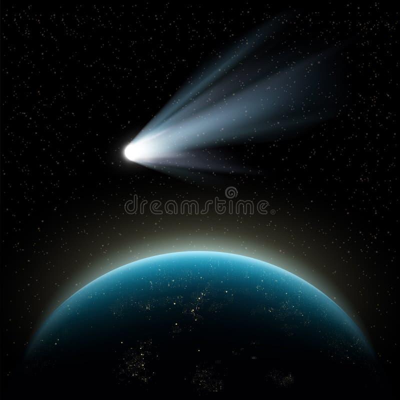 Planetenerde und -komet lizenzfreie abbildung