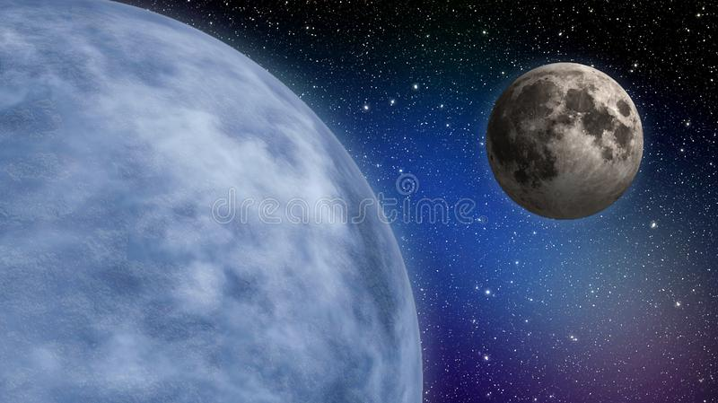 Planetenerde und -mond stockbilder