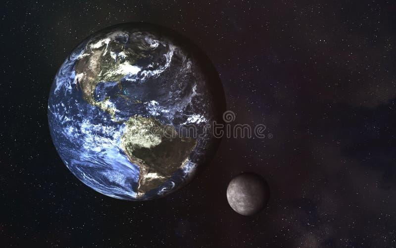 Planetenerde und -mond im Raum lizenzfreie abbildung