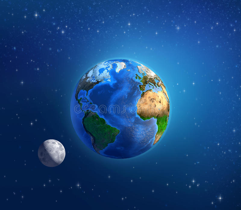 Planetenerde und -mondschein im Weltraum stock abbildung