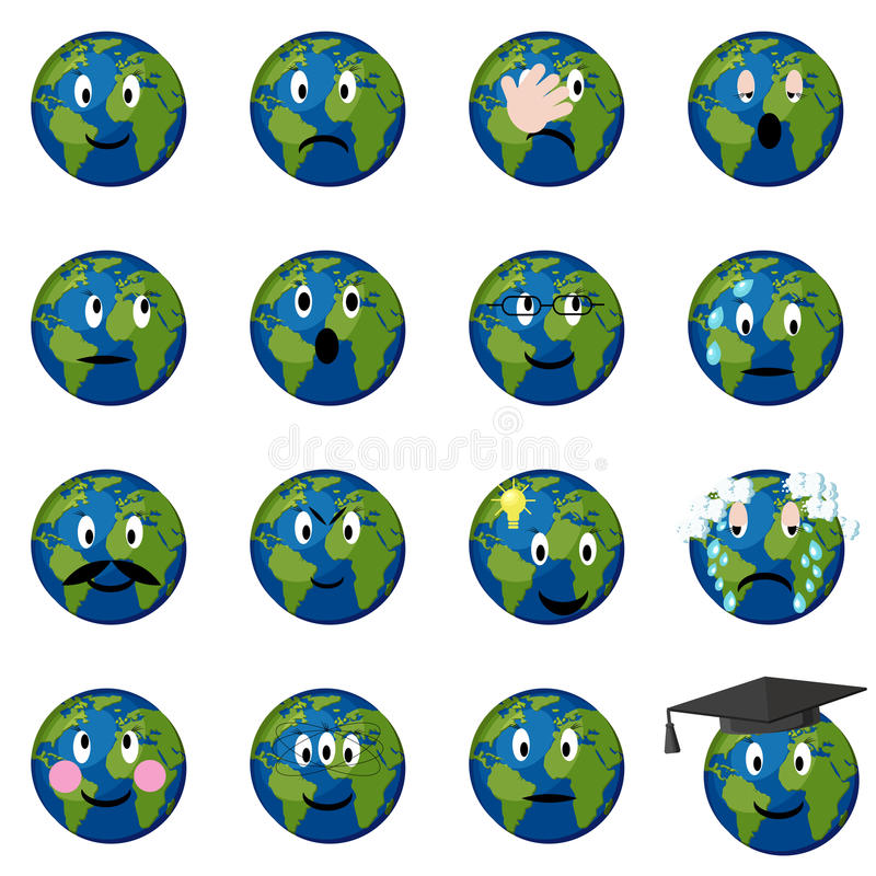 Planetenerdeemoticons eingestellt lizenzfreie abbildung