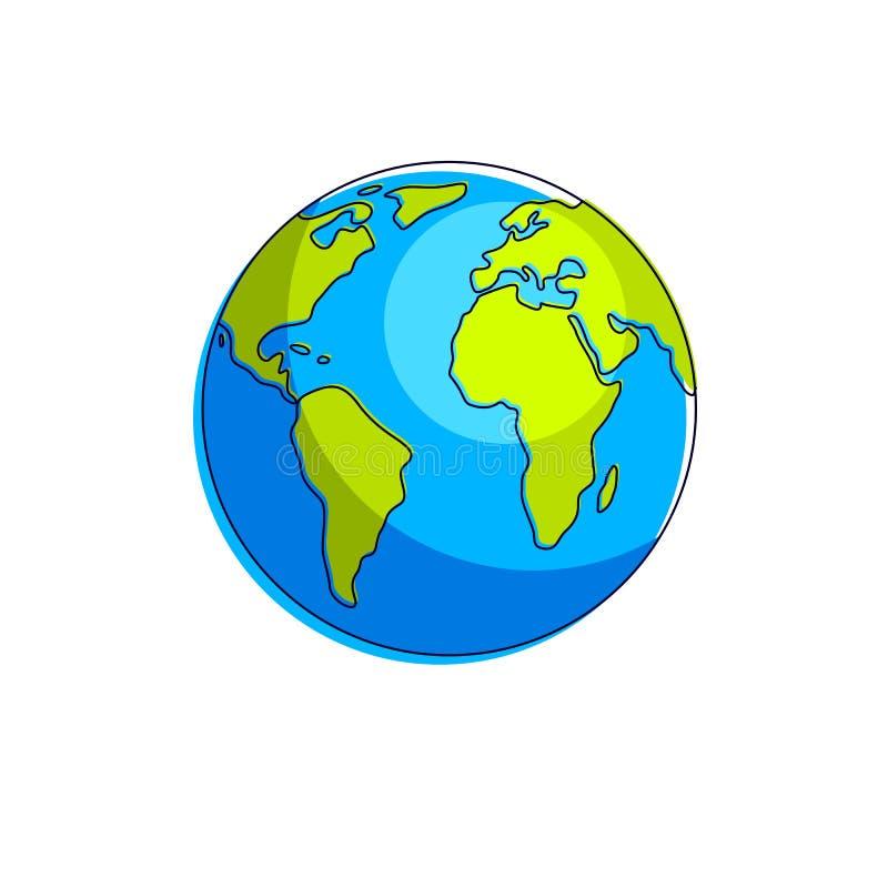 Planetenerdvektorillustration lokalisiert auf weißem Hintergrund, Amerika, Afrika vektor abbildung