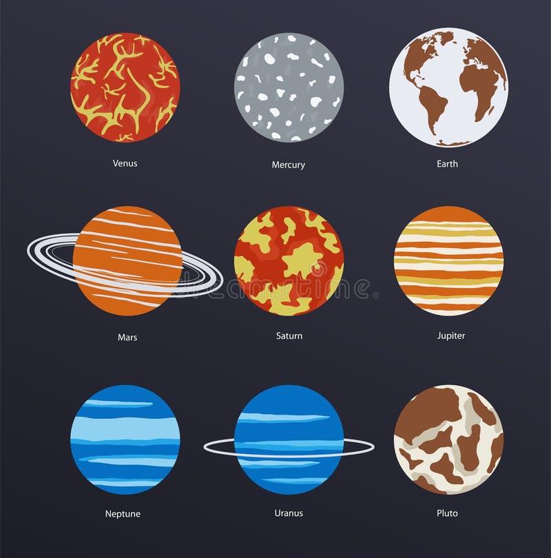 Planetenikonen auf dunklem Hintergrund vektor abbildung