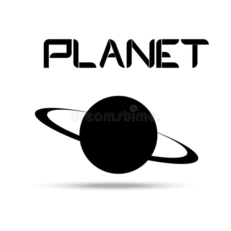 Planetenlogo auf einem weißen Hintergrund der Wortplanet stock abbildung