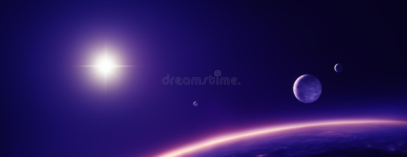 Planetenmanen en zon in purper licht royalty-vrije illustratie