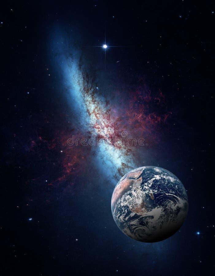 Planeter av solsystemet mot bakgrunden av en galax i utrymme royaltyfri illustrationer