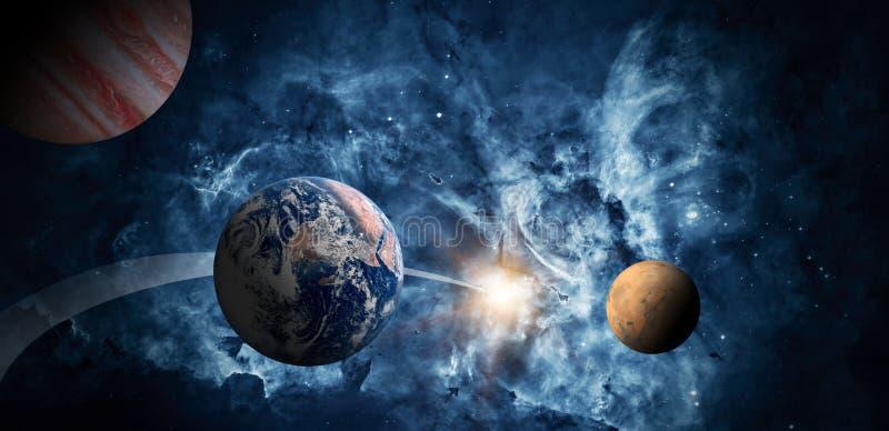 Planeter av solsystemet mot bakgrunden av en galax i utrymme stock illustrationer