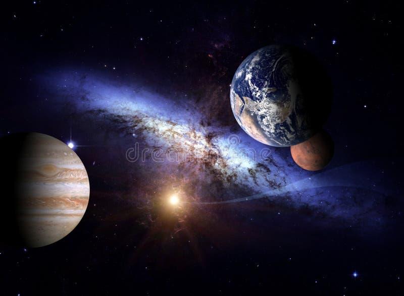 Planeter av solsystemet mot bakgrunden av en spiralgalax i utrymme stock illustrationer