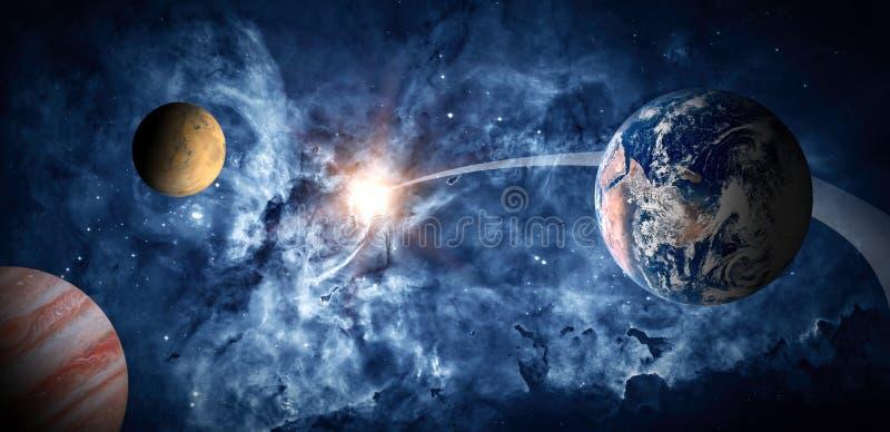 Planeter av solsystemet mot bakgrunden av en spiralgalax i utrymme royaltyfri illustrationer