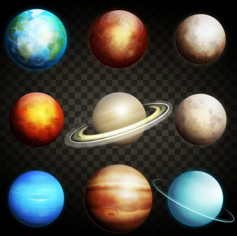 Planeter av solsystemet som isoleras på en genomskinlig bakgrund Uppsättning av den realistiska planetvektorn stock illustrationer