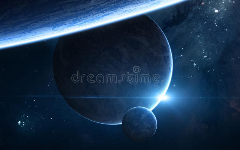 Planeter i djupt utrymme Förmörkelse för blå stjärna Science arkivbilder