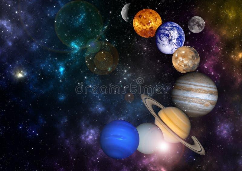 Planeter i radsolsystemet i det stjärnklara universumet med kopieringsutrymmebeståndsdelar av denna bild möblerade vid NASA royaltyfri illustrationer