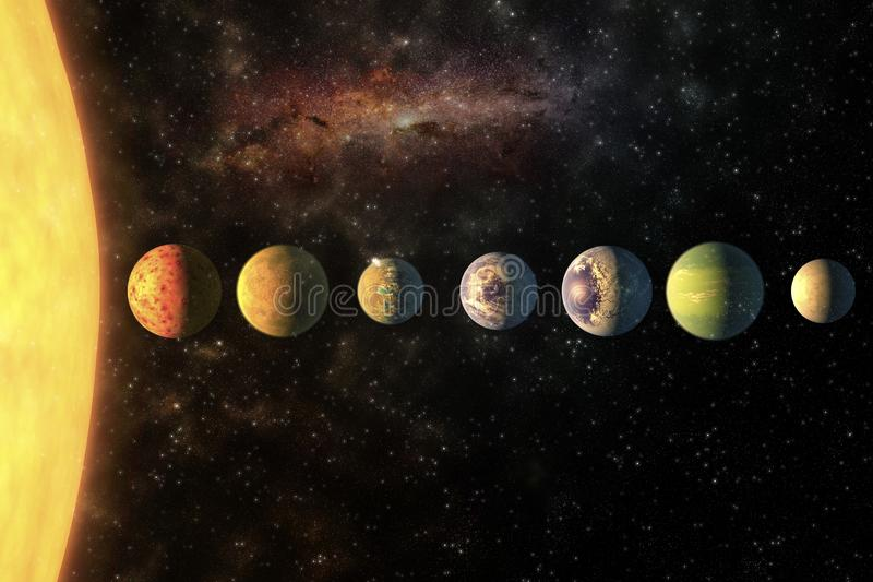 Planeter i radsolsystemet i det stj?rnklara universumet med kopieringsutrymmebest?ndsdelar av denna bild m?blerade vid NASA arkivbilder