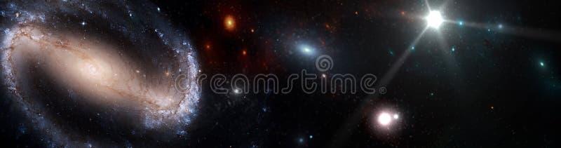 Planeter och galax, kosmos, fysisk kosmologi royaltyfri bild