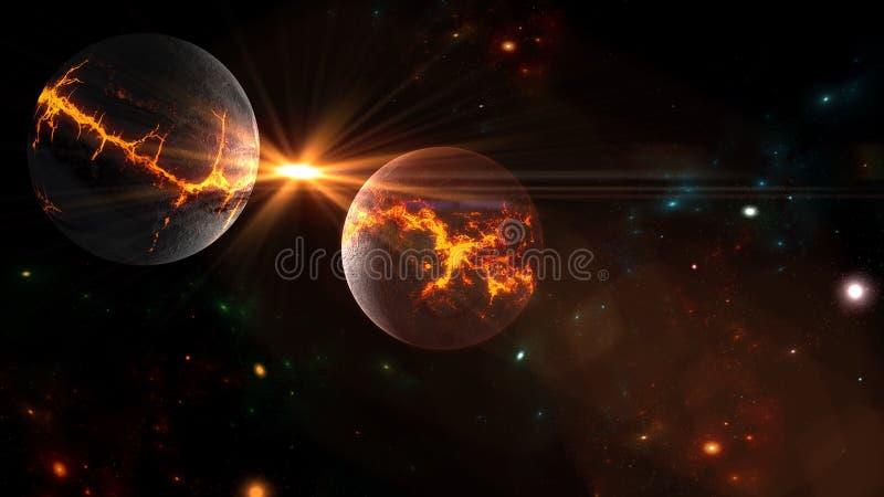 Planeter och galax, kosmos, fysisk kosmologi royaltyfria bilder