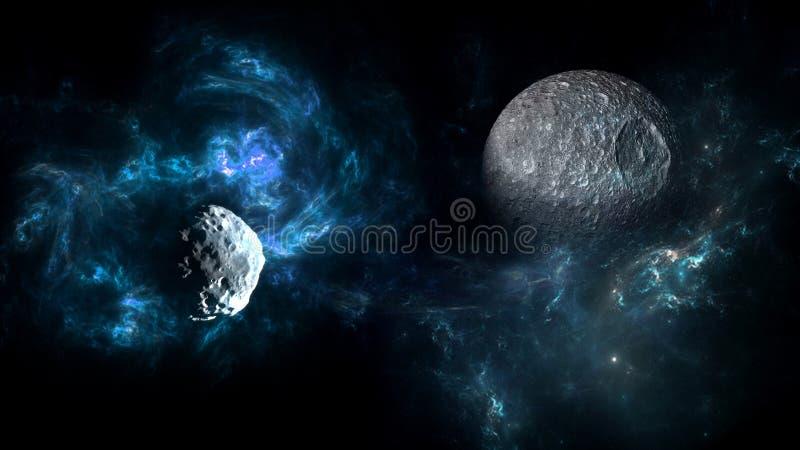 Planeter och galax, kosmos, fysisk kosmologi arkivbild