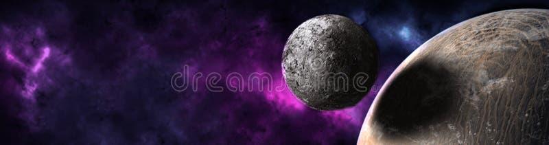Planeter och galax, sciencetapet royaltyfri fotografi