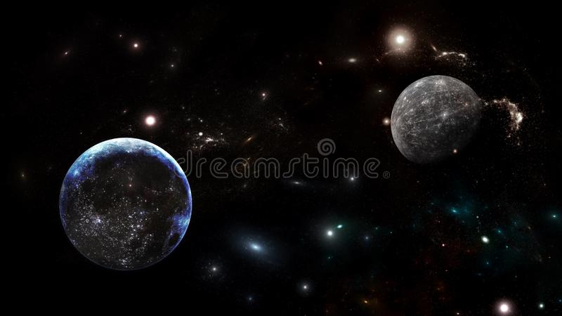 Planeter och galax Sciencetapet arkivbilder