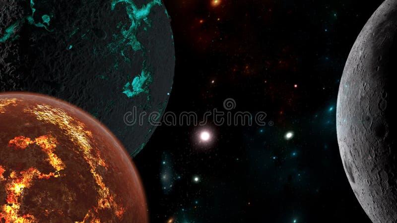 Planeter och galax, sciencetapet Skönhet av djupt utrymme royaltyfria foton