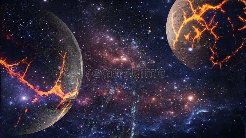 Planeter och galax, sciencetapet Skönhet av djupt utrymme arkivfoton