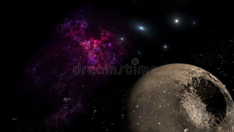 Planeter och galax, sciencetapet Sk?nhet av djupt utrymme Miljarder av galaxen i den kosmiska konstbakgrunden f?r universum, Ver arkivbild