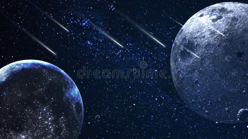 Planeter och galax, sciencetapet Sk?nhet av djupt utrymme Miljarder av galaxen i den kosmiska konstbakgrunden f?r universum, Ver arkivbilder