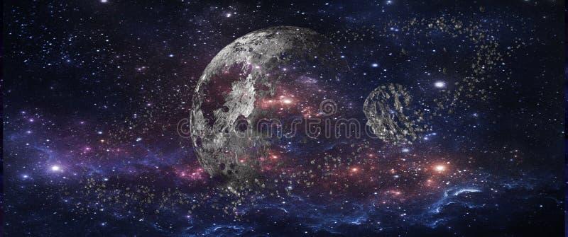 Planeter och galaxer, sciencetapet Skönhet av djupt utrymme royaltyfri fotografi