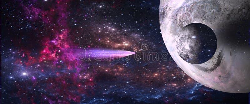 Planeter och galaxer, sciencetapet Skönhet av djupt utrymme arkivbilder