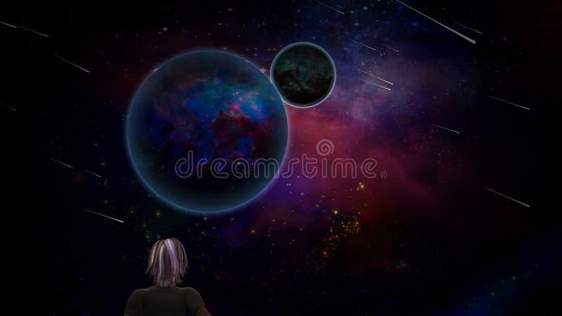 Planeter och meteor stock illustrationer