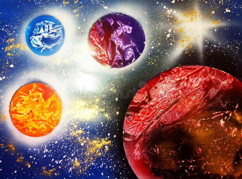 Planeter och stjärnor i utrymme royaltyfria foton