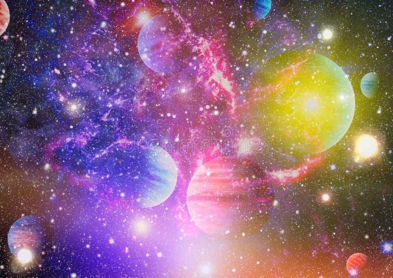 Planeter, stjärnor och galaxer i yttre rymd som visar skönheten av utforskning av rymden Beståndsdelar som möbleras av NASA royaltyfri bild