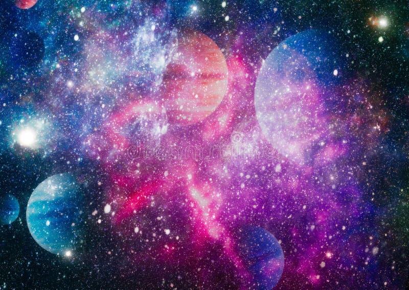 Planeter, stjärnor och galaxer i yttre rymd som visar skönheten av utforskning av rymden Beståndsdelar som möbleras av NASA stock illustrationer