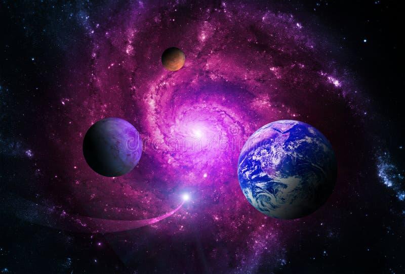 Planeterna av solsystemet tilldras av mitten av galaxen och ett massivt svart hål stock illustrationer