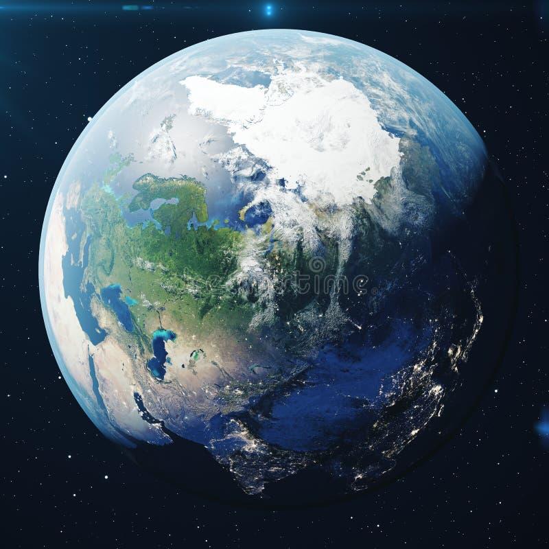 planetjord för tolkning 3D från utrymmet på natten Världsjordklotet från utrymme i ett stjärnafält som visar terrängen och vektor illustrationer