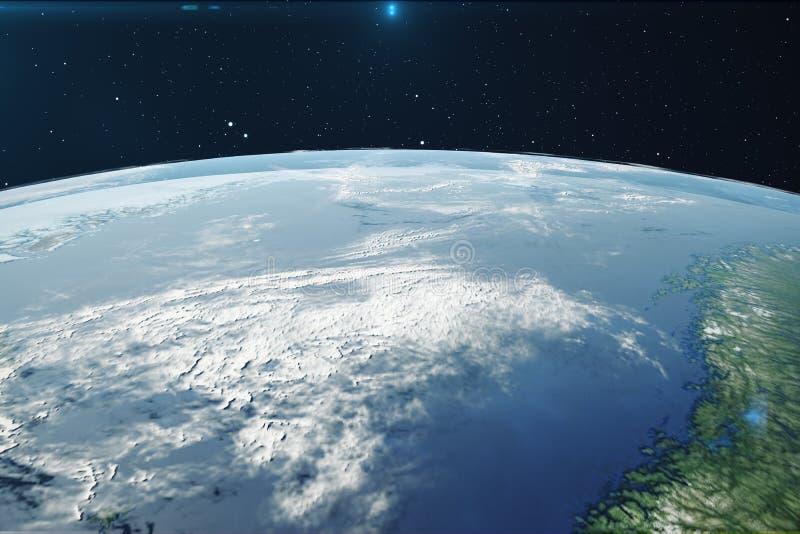 planetjord för tolkning 3D från utrymmet på natten Världsjordklotet från utrymme i ett stjärnafält som visar terrängen och stock illustrationer