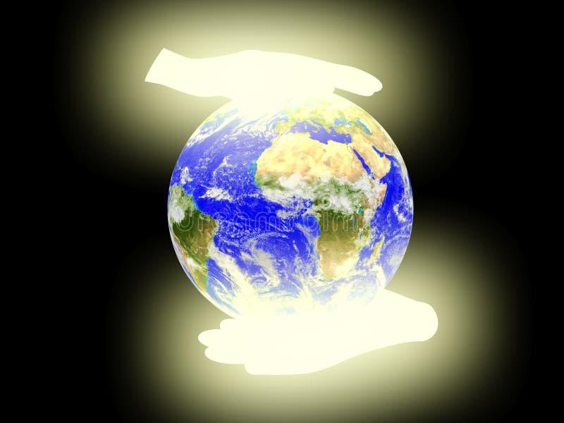 Planetjord gömma i handflatan på bakgrund. stock illustrationer