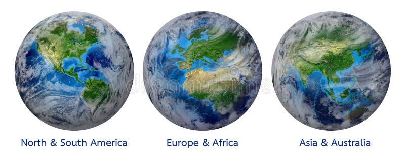 Planetjord, global värld som visar Amerika, Europa, Afrika, Asien, kontinent vektor illustrationer
