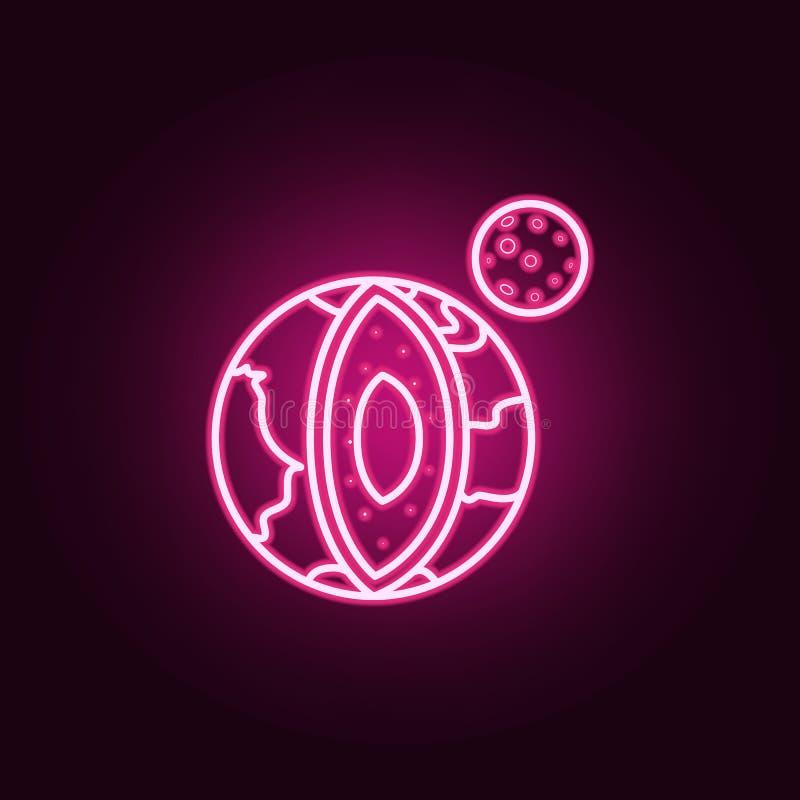 planetjord i avsnittneonsymbol Best?ndsdelar av den Sciense upps?ttningen Enkel symbol f?r websites, reng?ringsdukdesign, mobil a royaltyfri illustrationer